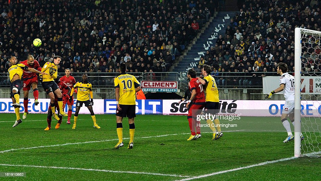 Alex Costa of Paris Saint-Germain FC scores the opening goal during the French League 1 football match between FC Sochaux-Montbeliard and Paris Saint-Germain FC at Stade Auguste Bonal on February 17, 2013 in Montbeliard, France.