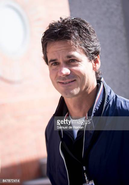 Alex Criville arrives to the Funeral Tribute For Angel Nieto in Madrid on September 16 2017 in Madrid Spain