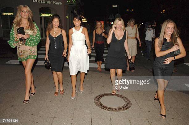 Alex Curran and Carly Zucker and Toni Poole at the England Players Wives and Girlfriends Enjoy a Night Out at Restaurant and Local Bar June 29 2006...