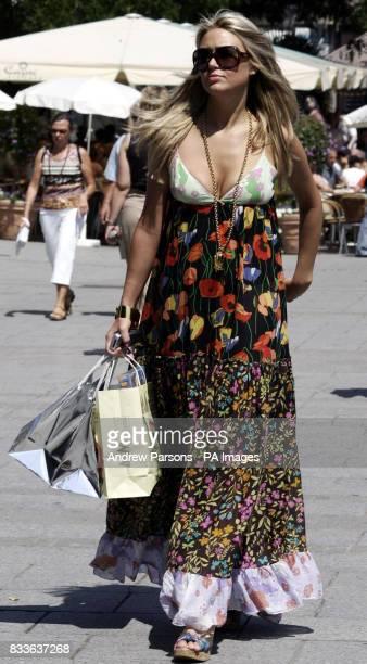 Alex Curran, the girlfriend of England footballer Steven Gerrard in the centre of Baden Baden, Germany.