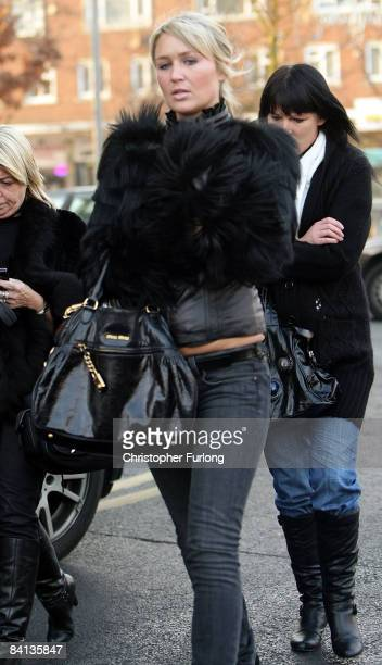 Alex Curran wife of footballer Steven Gerrard walks near the police station where her husband has been questioned by police on December 29 2008 in...