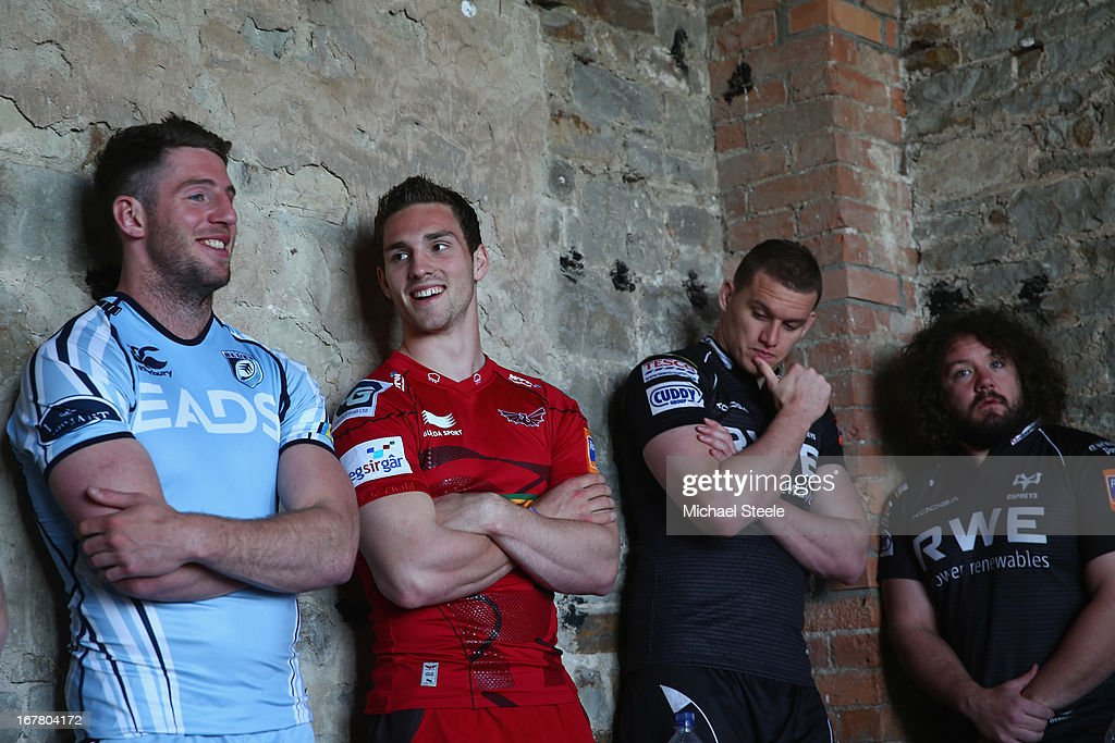 Alex Cuthbert (L) of Cardiff Blues,George North (2L) of Scarlets,Ian Evans (2R) and Adam Jones (R) of Ospreys amongst the fifteen Welsh players selected for the British and Irish Lions summer tour during a press conference at Margam Country Park on April 30, 2013 in Port Talbot, Wales.