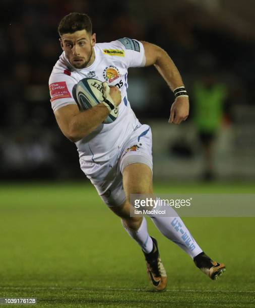 Alex Cuthbert of Execter Chiefs is seen during the Gallagher Premiership Rugby match between Newcastle Falcons and Exeter Chiefs at Kingston Park on...