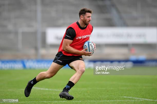 Alex Cuthbert of Exeter Chiefs looks for space during a training session at Sandy Park on August 15 2018 in Exeter England