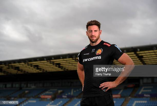 Alex Cuthbert of Exeter Chiefs poses for a portrait during the Exeter Chiefs squad photo call for the 201819 Gallagher Premiership Rugby season at...