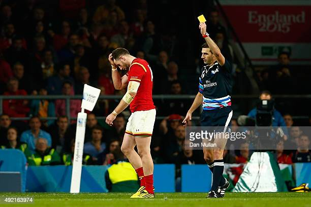 Alex Cuthbert of Wales is shown the yellow card by referee Craig Joubert during the 2015 Rugby World Cup Pool A match between Australia and Wales at...