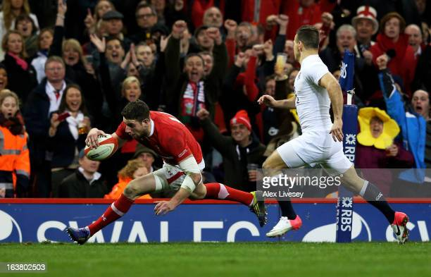 Alex Cuthbert of Wales touches down to score his team's second try during the RBS Six Nations match between Wales and England at Millennium Stadium...