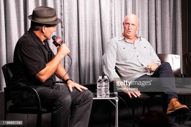 Alex Daniels and Charlie Brewer speak during SAGAFTRA Foundation Conversations Emmy Nominated Stunt Performers at SAGAFTRA Foundation Screening Room...