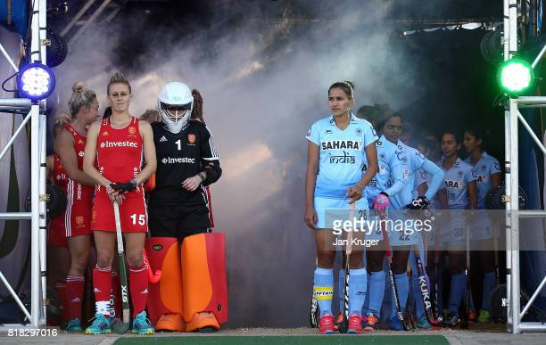 Alex Danson of England and Rani of India wait in the players tunnel with their teams during day 6 of the FIH Hockey World League Women's Semi Finals...