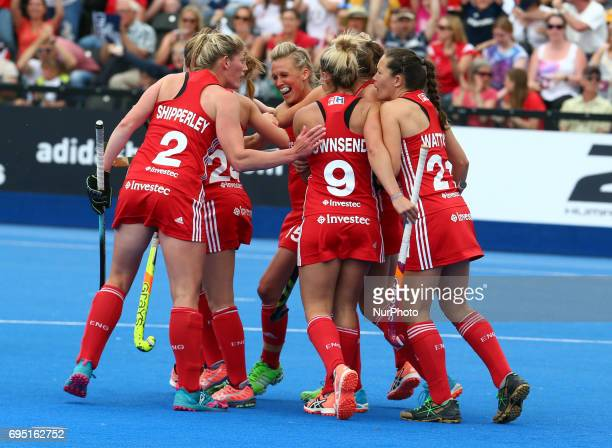 Alex Danson of England celebrate her goal and her 100th goal during the Investec International match between England Women and Netherlands Women at...