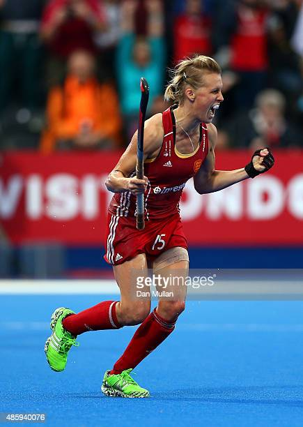 Alex Danson of England celebrates scoring her penalty during the EuroHockey Womens Gold Medal match between England and The Netherlands at Lee Valley...