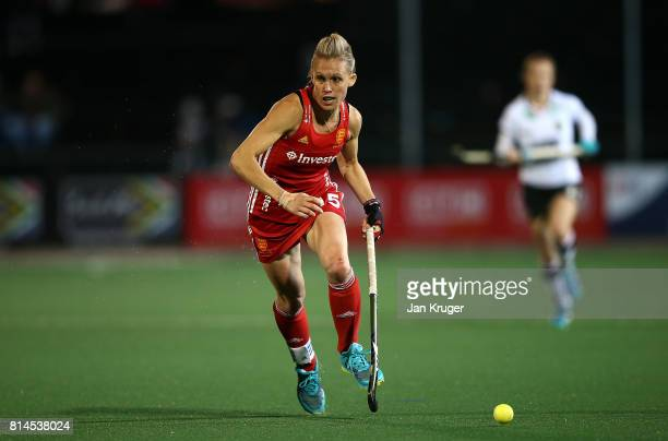 Alex Danson of England controls the ball during day 4 of the FIH Hockey World League Women's Semi Finals Pool A match between Germany and England at...