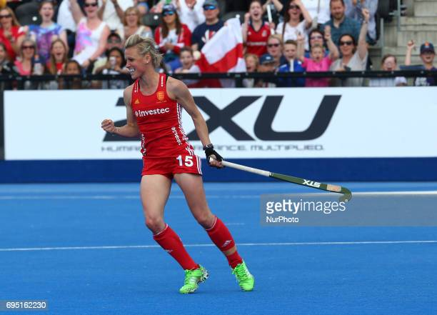 Alex Danson of England during the Investec International match between England Women and Netherlands Women at The Lee Valley Hockey and Tennis Centre...