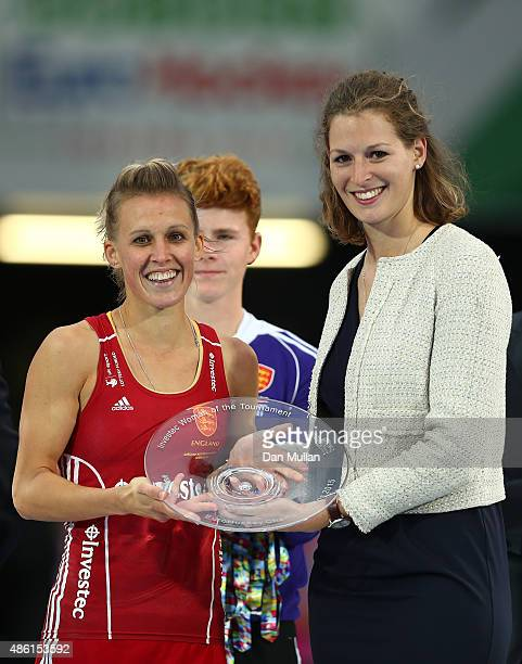 Alex Danson of England is presented with the Woman of the Tournament award following the EuroHockey Womens Gold Medal match between England and The...