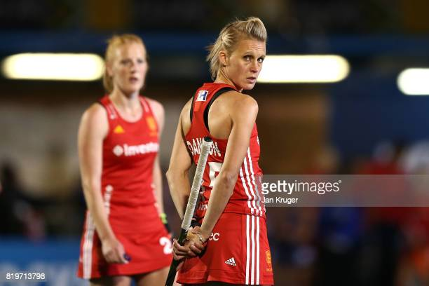 Alex Danson of England looks at the big screen during day 7 of the FIH Hockey World League Women's Semi Finals semi final match between England and...