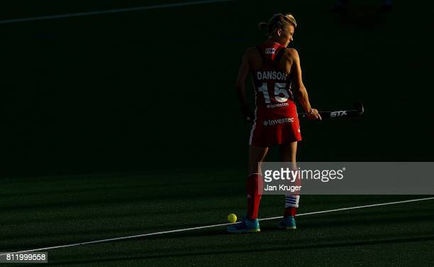 Alex Danson of England looks on during day 2 of the FIH Hockey World League Semi Finals Pool A match between England and Polandat Wits University on...