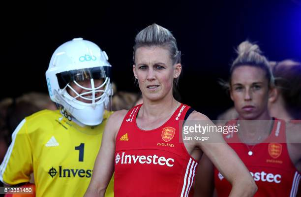 Alex Danson of England looks on from inside the tunnel area during day 3 of the FIH Hockey World League Semi Finals Pool A match between Japan and...