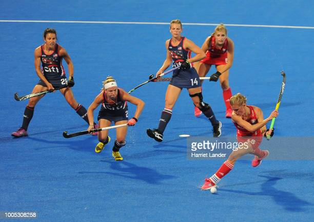 Alex Danson of England scores her team's first goal during the Pool B game between USA and England of the FIH Womens Hockey World Cup at Lee Valley...