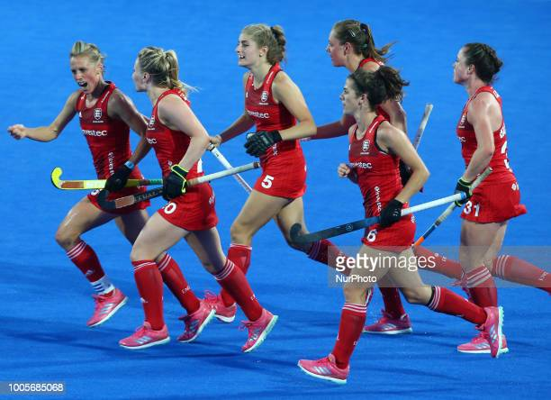 Alex Danson of England Women celebrates her goal during FIH Hockey Women's World Cup 2018 Day Four match Pool B game 12 between USA and England at...