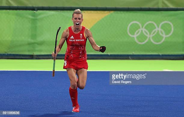 Alex Danson of Great Britain celebrates after scoring her second goal during the Women's hockey semi final match betwen New Zealand and Great Britain...