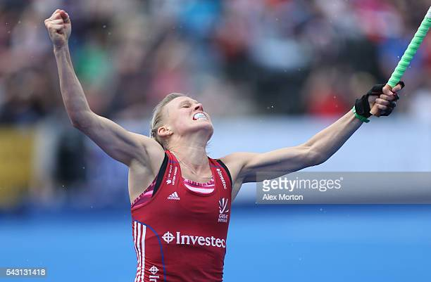 Alex Danson of Great Britain celebrates after scoring their first goal during the FIH Women's Hockey Champions Trophy 2016 match between New Zealand...