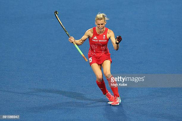 Alex Danson of Great Britain celebrates scoring a goal during the womens semifinal match between the Great Britain and New Zealand on Day 12 of the...