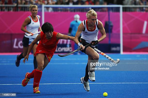 Alex Danson of Great Britain makes a break during the Women's Hockey match between Great Britain and China on Day 8 of the London 2012 Olympic Games...