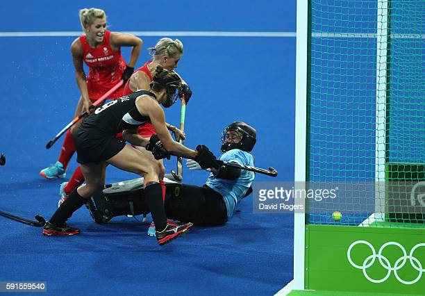 Alex Danson of Great Britain scores the opening goal during the Women's hockey semi final match betwen New Zealand and Great Britain on Day12 of the...