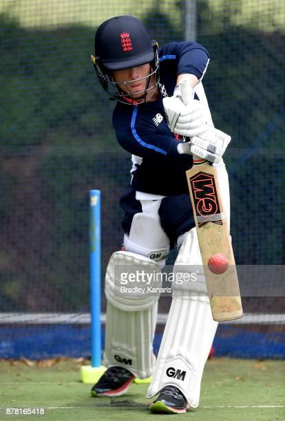 Alex Davies bats during an England Lions training session at Allan Border Field on November 24 2017 in Brisbane Australia