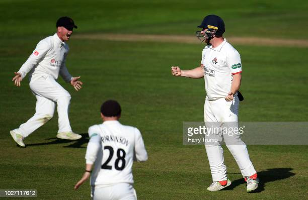 Alex Davies Matt Parkinson and Steven Croft of Lancashire celebrate the wicket of Jack Leach of Somerset to end the match in a tie during Day Two of...
