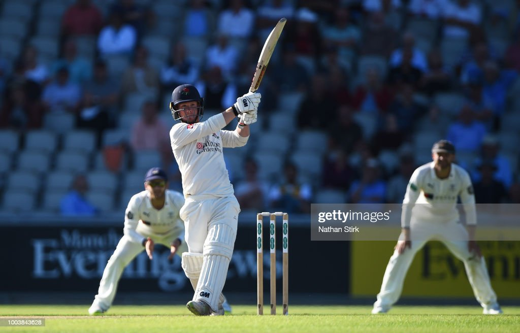 Alex Davies of Lancashire batting during the Specsavers Championship Division One match between Lancashire and Yorkshire at Old Trafford on July 22, 2018 in Manchester, England.
