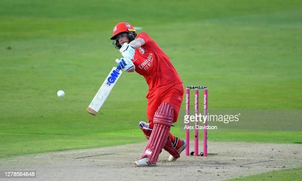 Alex Davies of Lancashire hits runs during the Vitality T20 Blast Semi Final between Notts Outlaws and Lancashire Lightning at Edgbaston on October...