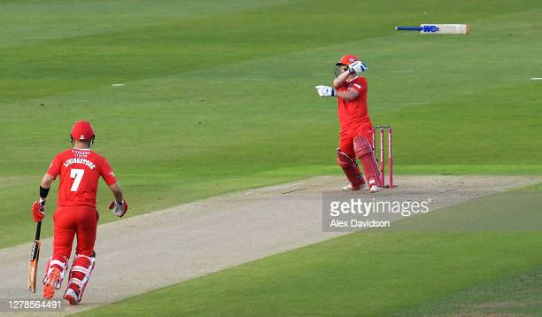Alex Davies of Lancashire lets go of his bat during the Vitality T20 Blast Semi Final between Notts Outlaws and Lancashire Lightning at Edgbaston on...