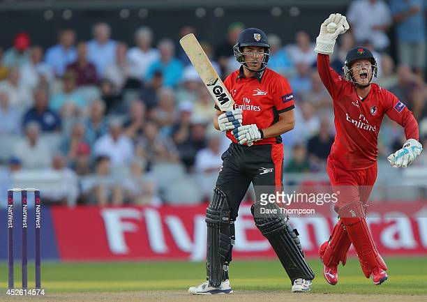 Alex Davies of Lancashire Lightning celebrates catching Michael Richardson of Durham Jets off the bowling of Steven Croft of Lancashire Lightning...