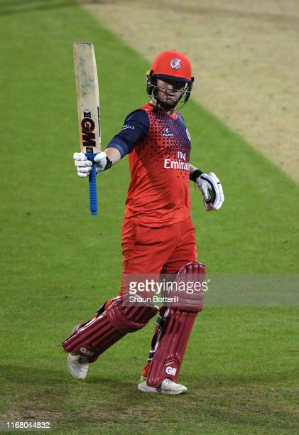 Alex Davies of Lancashire Lightning reaches his 50 during the T20 Vitality Blast match between Northamptonshire Steelbacks and Lancashire Lightning...