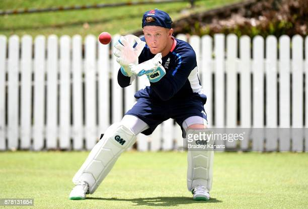 Alex Davies practices his wicketkeeping during an England Lions training session at Allan Border Field on November 24 2017 in Brisbane Australia