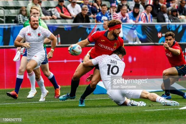 Alex Davis of England tackles spanish attacker in Match England vs Spain during the LA Sevens Round 5 of the HSBC World Rugby Sevens Series held...