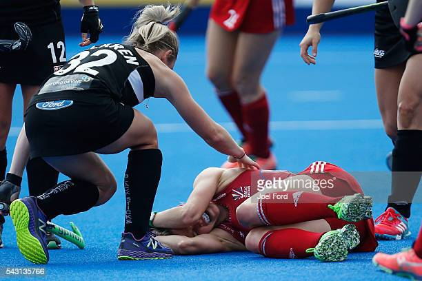 Alex Dawson of Great Britain lies injured on the turf during the FIH Women's Hockey Champions Trophy 2016 match between New Zealand and Great Britain...