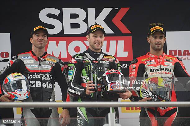 Alex De Angelis of Rep San Marino and IodaRacing Team Jonathan Rea of Great Britain and KAWASAKI RACING TEAM and Xavi Fores of Spain and Barni Racing...