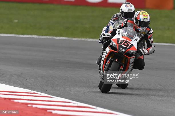 Alex De Angelis of Rep San Marino and IodaRacing Team leads the field during the Race 2 during the FIM Superbike World Championship Race at Misano...