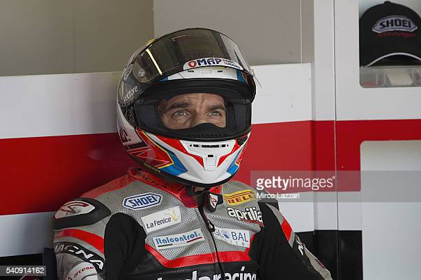 Alex De Angelis of Rep San Marino and IodaRacing Team looks on in box during the FIM Superbike World Championship Free Practice at Misano World...