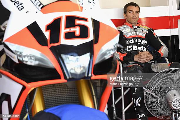 Alex De Angelis of Rep San Marino and IodaRacing Team looks on in box before the Race 1 during the FIM Superbike World Championship Qualifying at...