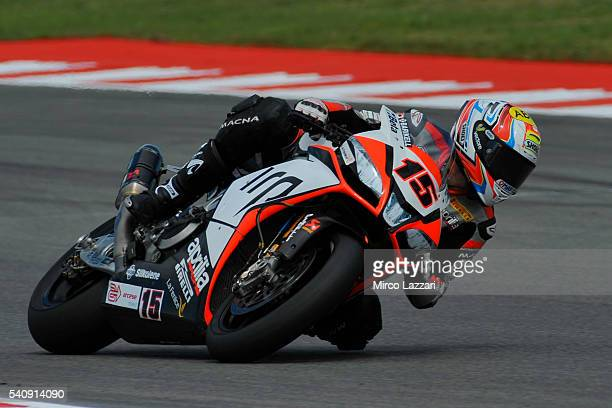 Alex De Angelis of Rep San Marino and IodaRacing Team rounds the bend during the FIM Superbike World Championship Free Practice at Misano World...
