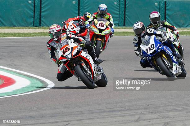 Alex De Angelis of Rep San Marino and IodaRacing Team team leads the field during the Superbike Race 1 during the World Superbikes Qualifying at Enzo...