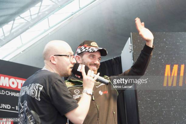 Alex De Angelis of Rep San Marino and Pedercini Racing greets the fans during the the Paddock Show during the FIM Superbike World Championship...