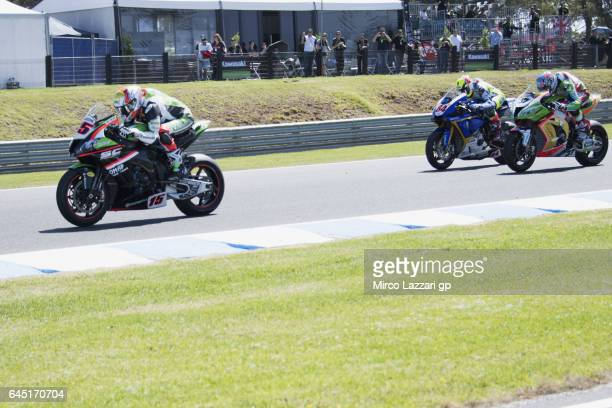 Alex De Angelis of Rep San Marino and Pedercini Racing leads the field during the Race 1 during round one of the FIM World Superbike Championship at...