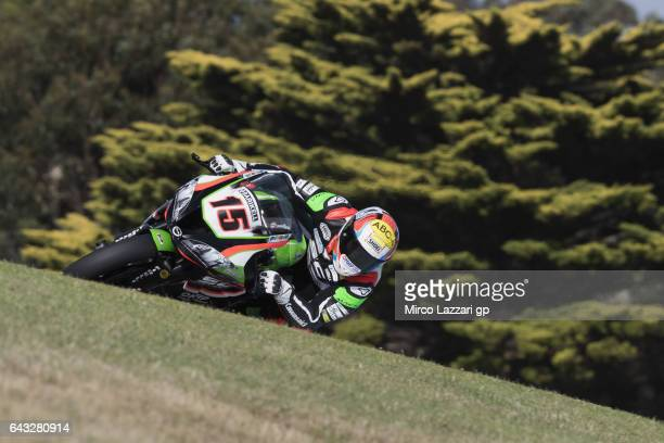 Alex De Angelis of Rep San Marino and Pedercini Racing rounds the bend during 2017 WorldSBK preseason testing at Phillip Island Grand Prix Circuit on...