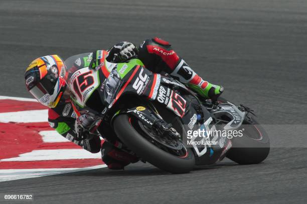 Alex De Angelis of Rep San Marino and Pedercini Racing rounds the bend during the FIM Superbike World Championship Free Practice at Misano World...