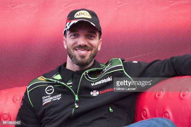 Alex De Angelis of Rep San Marino and Pedercini Racing smiles during the Paddock Show during the FIM Superbike World Championship Preview at Misano...
