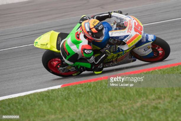 Alex De Angelis of Rep San Marino and Tasca Racing Scuderia Moto2 rounds the bend during the MotoGP Of Malaysia Free Practice at Sepang Circuit on...